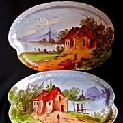 SALE Pair 19th-Century French Scenic Porcelain Platters, Hand-Painted Limoges