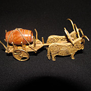 Sweet Little Portugal Souvenir--Bulls Pulling a Cart