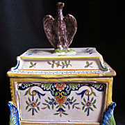 French Empire Faience Lidded Box, Desvres, 1852-70, Napoleon III