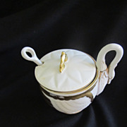 Lovely Late 1800 Bisque and Porcelain Lidded Condiment in Swan Shape