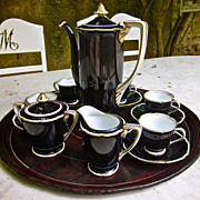 SALE Early 20th-Century Noritake Art Deco Coffee/Chocolate Set for Five
