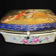 Beautiful Large Cobalt Blue Porcelain Dresser Box