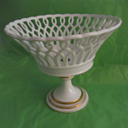 19th Century Old Paris Porcelain Reticulated Compote