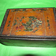 Wonderful Wooden Box with Hand Decorated Lid and Side