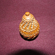 Gorgeous Pear Shaped Victorian Carved Vegetable Ivory Thimble Holder