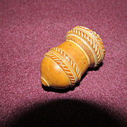 Carved Acorn Shaped Victorian Vegetable Ivory Thimble Holder & Beehive Thimble
