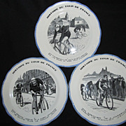 Three H.B. & Co. Choisy France Plates-Art Deco, Tour de France
