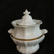 Antique White Porcelain Sucrier Sugar with Gold Gilt Trim