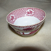 Antique English Red Transferware Handleless Cup