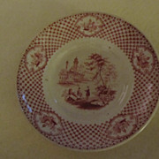 Antique 1800s Adams English Red Transferware Saucer Cyrene