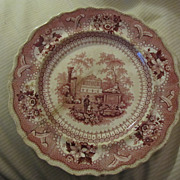 "REDUCED An Antique English Red Transferware Plate by Clews ""Canovian"" Pattern"