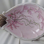Pretty Pink Antique Shell Shaped & Hand Painted Dish
