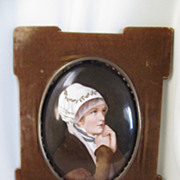 SOLD Hand Painted on Porcelain Antique Plaque, Framed in Velvet