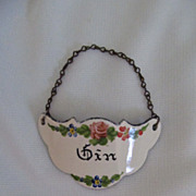 Nice Vintage Enamel Decanter Tag for Gin