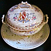 19th-Century French Samson Porcelain Tureen & Platter