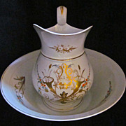 19th-Century French Paris Porcelain Pitcher & Basin
