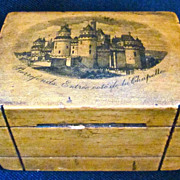 French 19th-Century Puzzle Bank, Wooden Souvenir with Secret Door