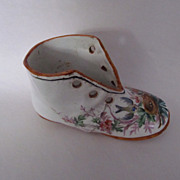 Hand Painted Antique French Porcelain Shoe--So Sweet