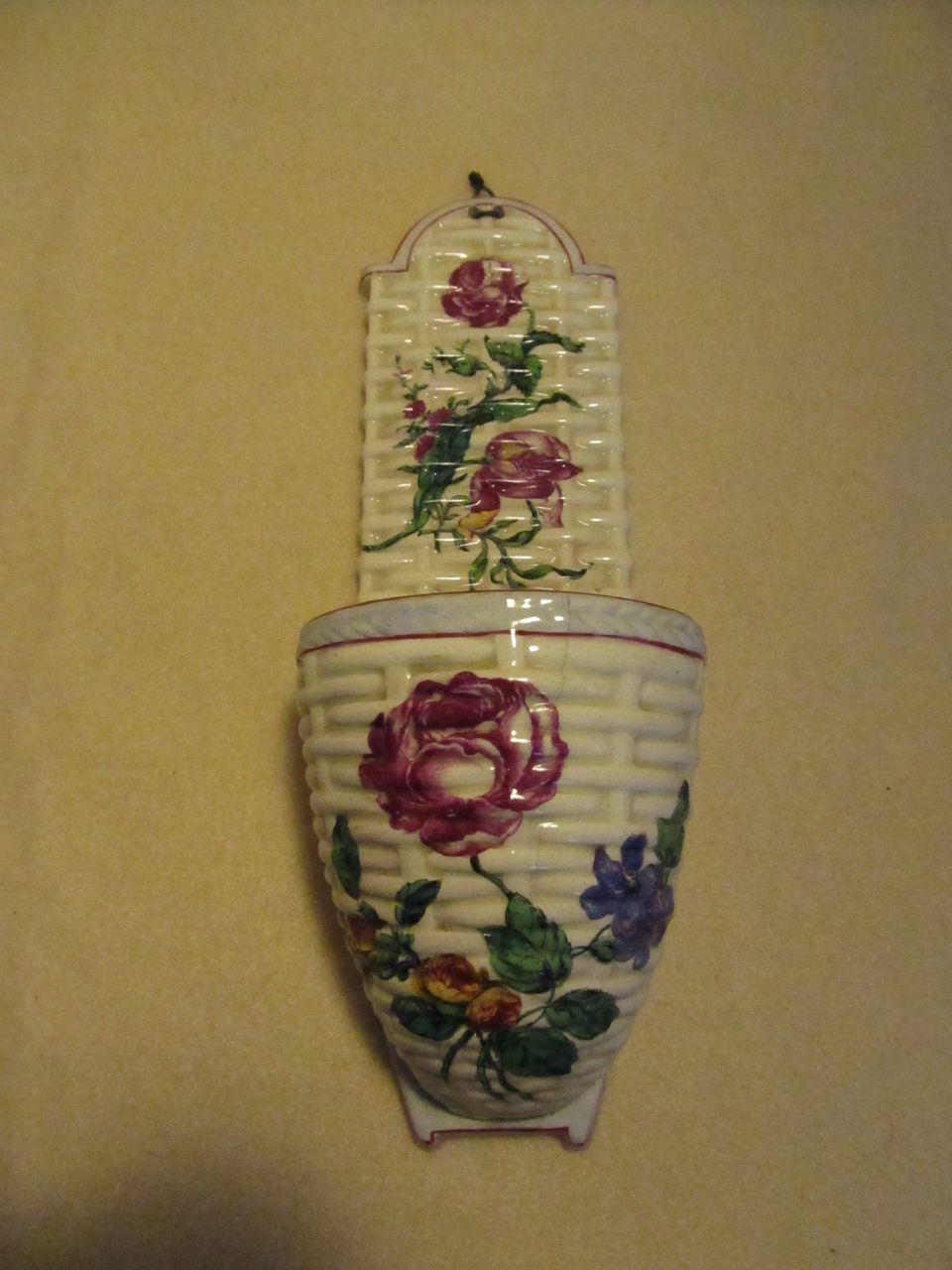 Antique French Faience Wall Pocket by Gien