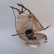 A French Mother of Pearl Sail Boat Antique Thimble Holder