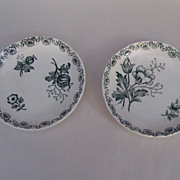 Pair of Sarreguemines Transfer Plates in Green and White