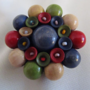 Czechoslovakia Wood & Glass Bead Brooch