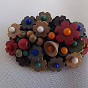 Signed Czechoslovakia Wood & Glass Bead Brooch