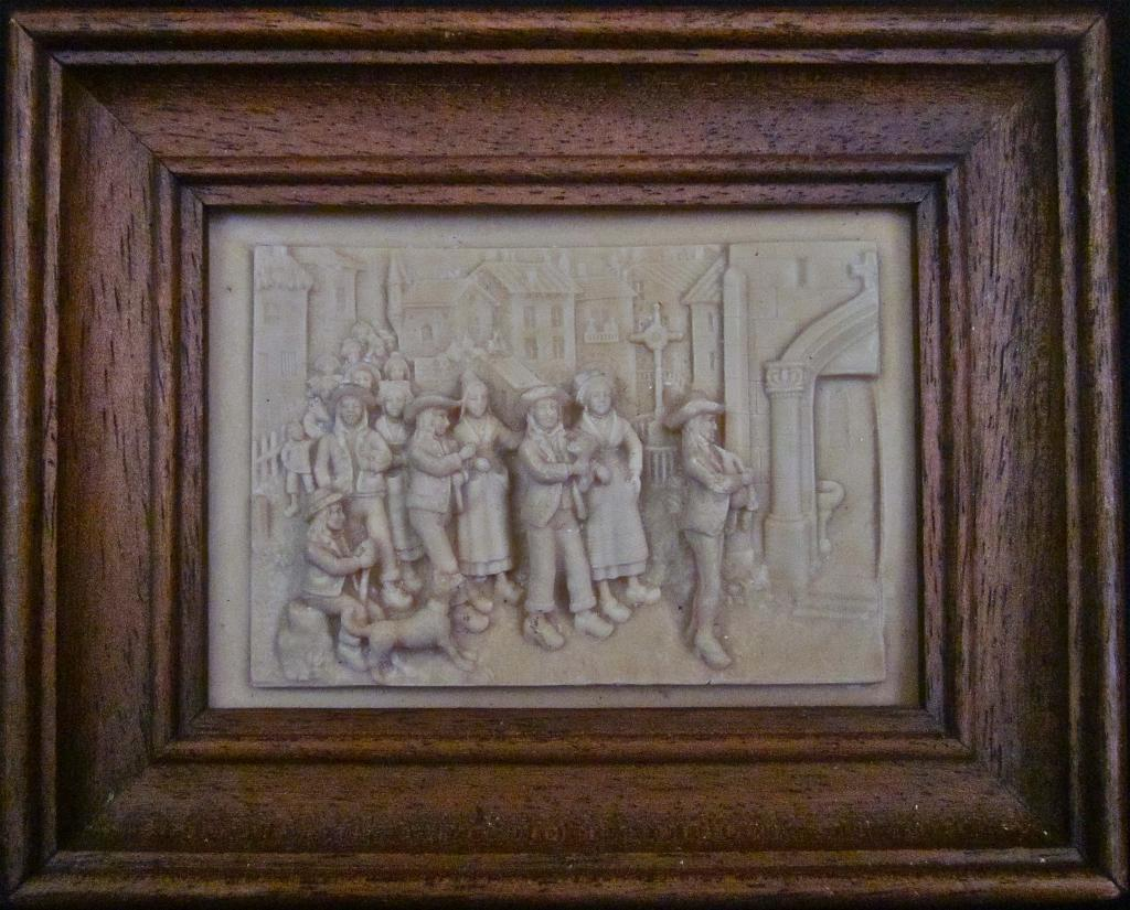 19th-Century French Stone Bas-Relief of Village Scene