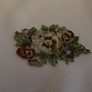 Lovely Antique Victorian French Die Cut Card--Pansies