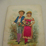 Antique French Die Cut Card Girl & Boy with Flowers & Love Note