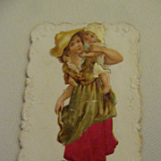 Antique French Die Cut Card Girl with Baby