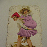 Antique French Die Cut Card with Sweet Boy and Girl