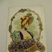 Antique Die Cut French Card with Lovely Woman & Basket of Violets