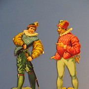 Delightful Pair of Antique French Chromo Die Cut Out Cards