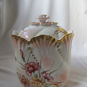 SALE Limoges Hand Painted Lidded Biscuit Jar