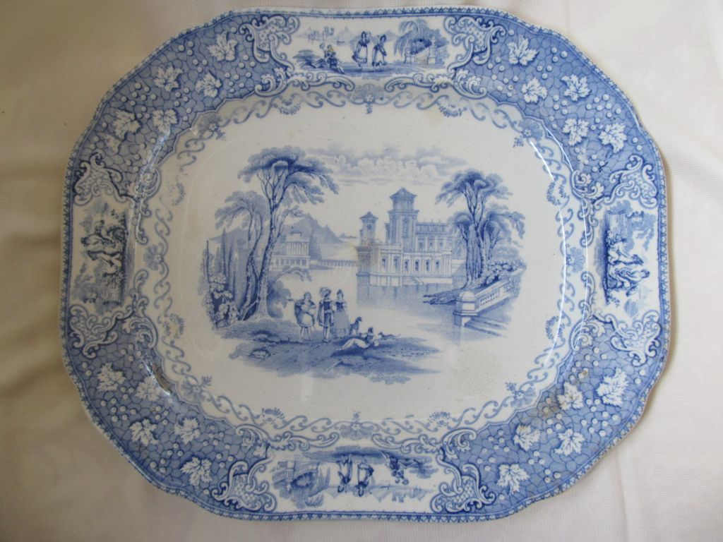 Antique Blue Transferware Platter--Italian Lakes