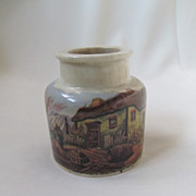 An Antique English Prattware 3&quot; Jar &quot;Mending the Nets&quot;