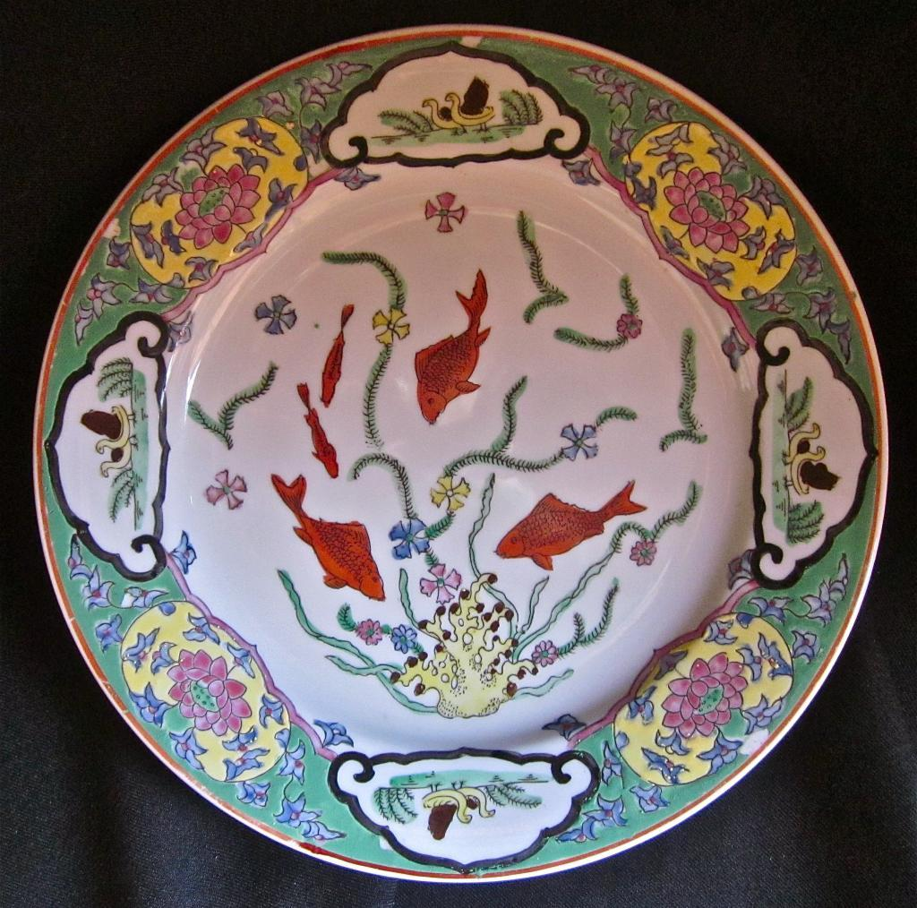Vintage Chinese Enameled Porcelain Plate, Water-Theme Decor