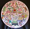 Vintage Chinese Enameled Porcelain Plate, Luck & Happiness Decor