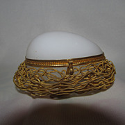 Antique French Palais Royal White Opaline Egg in Nest Casket with Dore Bronze Mounts