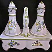 Vintage French Moustiers Oil & Vinegar Set, Signed