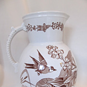 SOLD Large Antique Aesthetic Brown English Transferware Jug with Birds & Insects