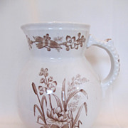 SOLD Antique Aesthetic English Brown Transferware Pitcher--Stanley Pattern