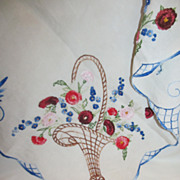 Magnificent French Embroidered Linen Tablecloth