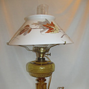 EAPG Antique Amber Glass Oil Lamp with Hand Painted Milk Glass Shade