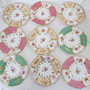 Group of 9 Wonderful Cauldon English Porcelain Dessert Plates