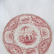 Antique English Red Transferware Plate &quot;Columbus&quot;, circa 1830's
