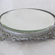 "10"" Antique Plateau Mirror with Ornate Base"