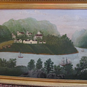 Wonderful Oil on Board-Landscape with River Scene and Sailboats