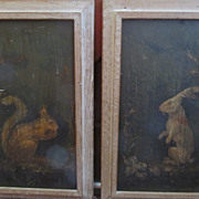 Pair of Neat Oil on Board Framed Pictures--a Rabbit and a Squirrel